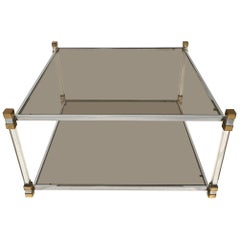 Two-Tier Chrome, Lucite and Brass Coffee Table