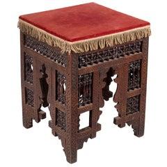 19th Century Turkish Wooden Stool Upholstered in Red Velvet