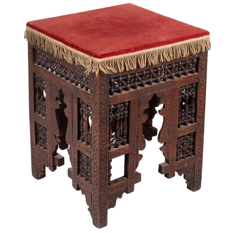 19th Century Turkish Wooden Stool Upholstered in Red Velvet For Sale