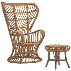Lio Carminati Wicker Lounge Chair with Ottoman