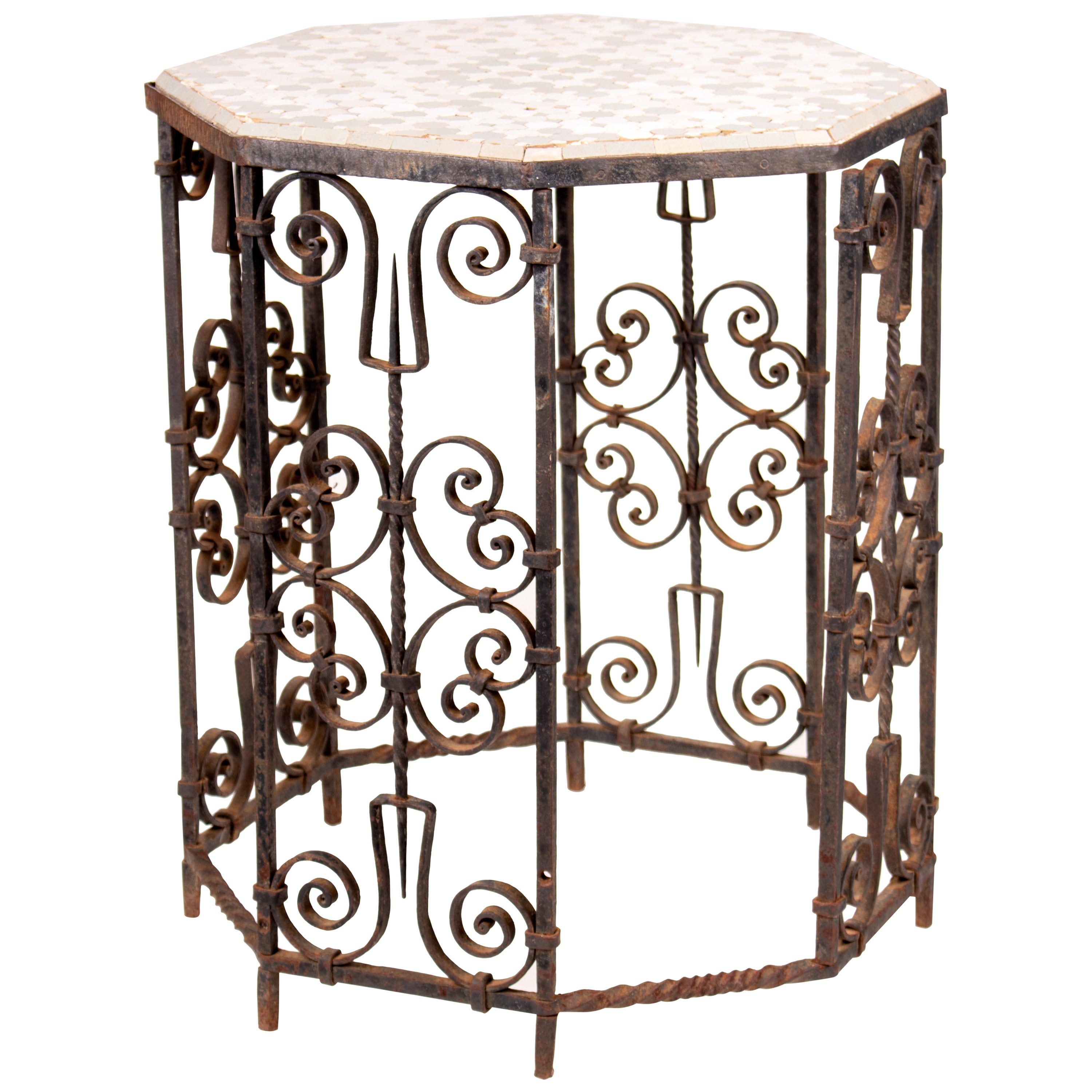 19th Century French Wrought Iron Octagonal Ceramic Top Table