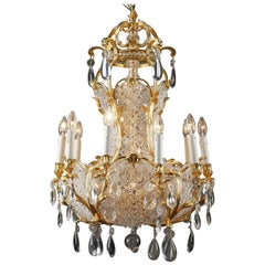 19th Century 10-Light Ormolu and Crystal Basket-Shaped Chandelier