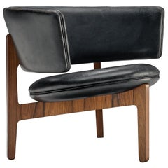 Sven Ellekaer Lounge Chair in Rosewood and Original Black Leather