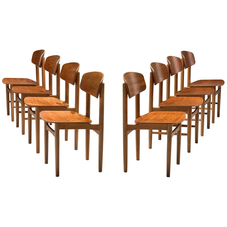 Børge Mogensen Set of Eight Dining Chairs in Teak For Sale