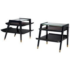 Ebonized Side Tables with Brass Feet