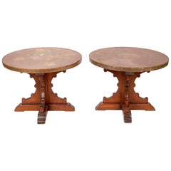 1970s Pair of French Brass Top Auxiliary Tables with Wooden Legs