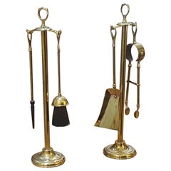 Art Nouveau Brass Fireside Companion Set