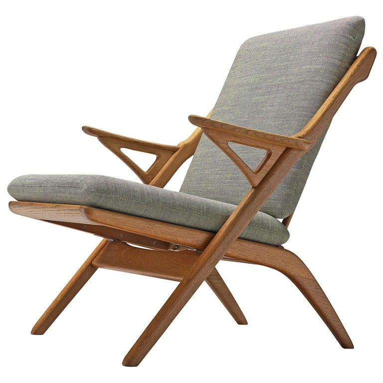 Danish Reupholstered Midcentury Armchair in Oak For Sale