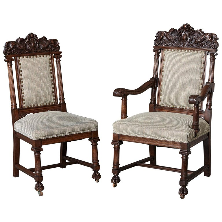 Set of Late 19th Century High Back Renaissance Style 'His and Her' Throne Chairs For Sale