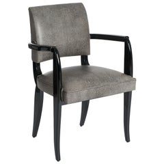 French Art Deco Office Chair / Armchair Black - White Raydesign Colored Leather