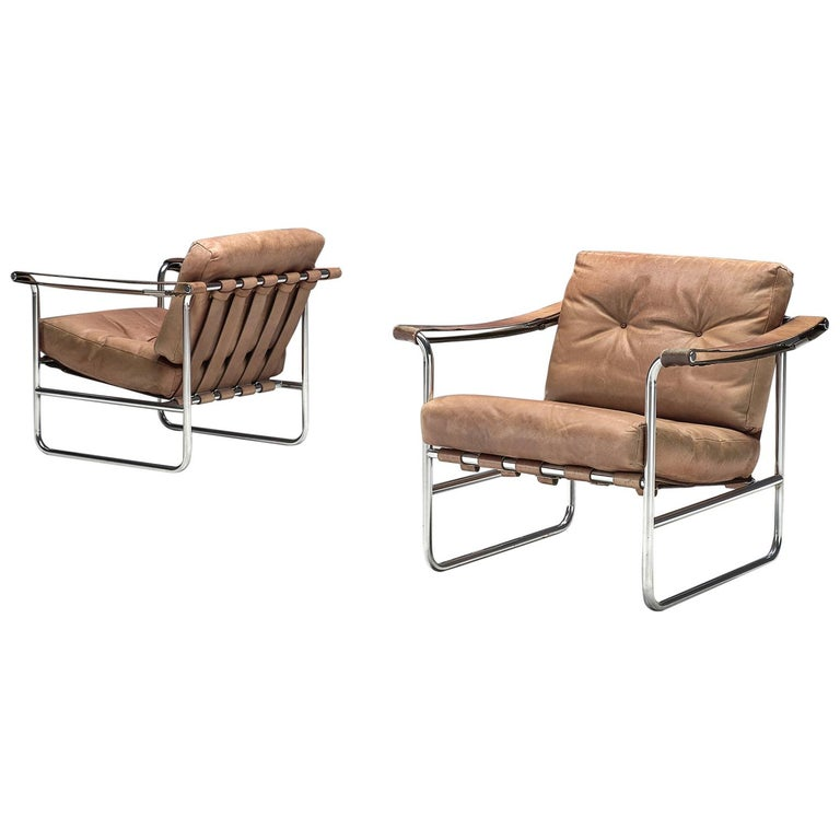 De Sede Pair of Leather Armchairs by Hans Eichenberger