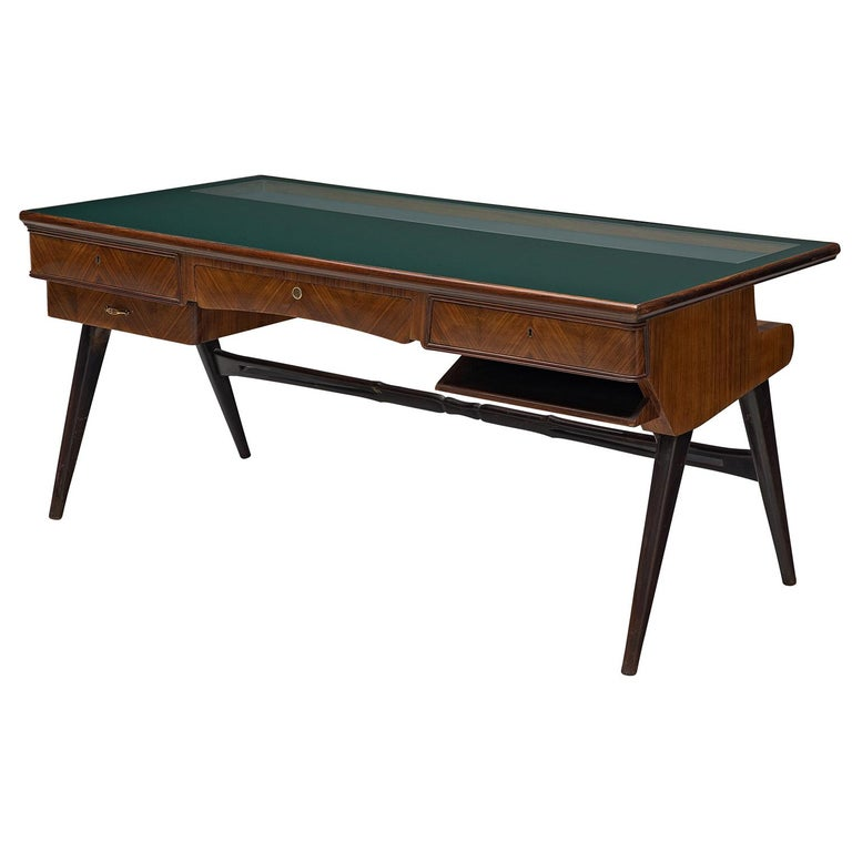 Italian Desk in Rosewood and Brass For Sale