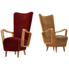 Danish Patinated Beech High Back Easy Chairs, 1950s