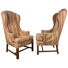 Dramatic Pair of Wing Back Scroll Arm Chairs Attributed to Kittinger