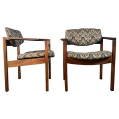 Set of 8 Sculptural Walnut Lounge Chairs, Modernist, Gunlock