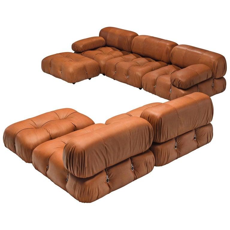 Mario Bellini Customizable 'Camaleonda' Modular Leather Sofa For Sale