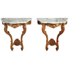 Pair of Louis XV-Style Console Tables with Marble Top