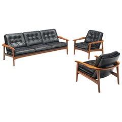 Living Room Set in Black Leather and Teak, Denmark, 1960s