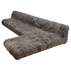 Grand Boomerang Sofa Upholstered in Luxurious Grey Tibetan Wool