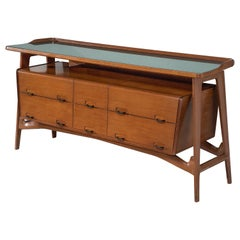 Italian Credenza in Fruitwood and Glass, circa 1950