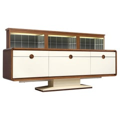 Pedestal Sideboard with Automated Movable Mirrored Dry Bar