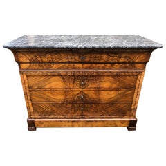 19th Century Marble Top Louis Philippe Commode Secretaire Chest of Drawers