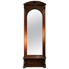 19th Century English Greek Revival Hand Carved Wood Full Length Floor Mirror
