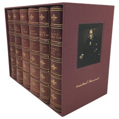 Winston Churchill Signed Set, the Second World War, 6 Volumes in Period Leather