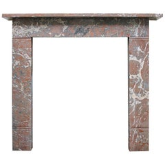 Small 19th Century Victorian Rouge Marble Fireplace Surround