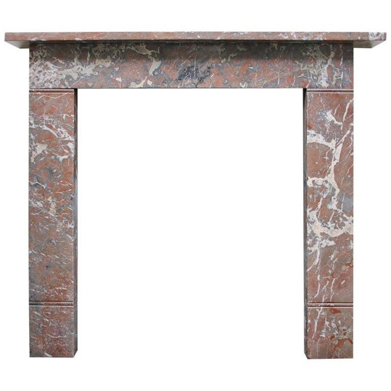 Small 19th Century Victorian Rouge Marble Fireplace Surround For Sale