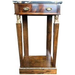 Empire Rosewood and Marble Gilt Mounted Console or Side Table