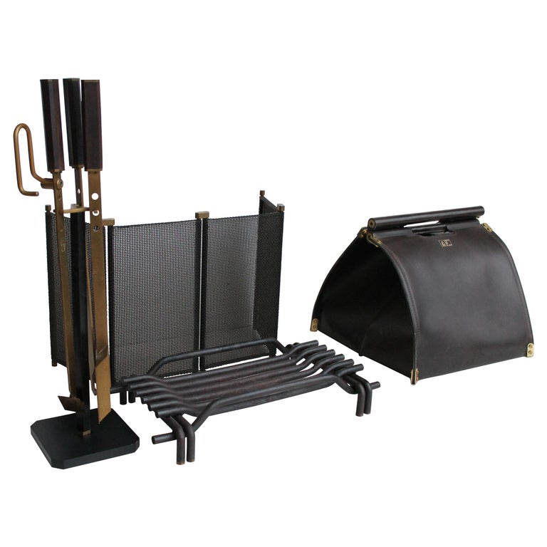 Mid Century Italian Fireplace Set by Tobia Scarpa for Dimensione Fuoco, 1983 For Sale