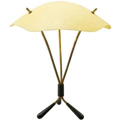 Midcentury Brass and Fiberglass Tripod Table Lamp from Austria, 1950s