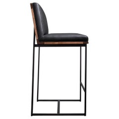 DGD Bar Stool, Black, Powder Coated Steel, Walnut, Leather, handmade in USA