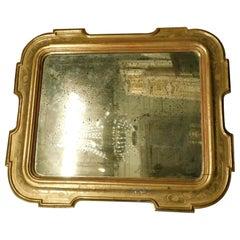 Antique Golden Wood Rectangular Mirror, Frame Bas-Reliefs, Wings, Flower Decor