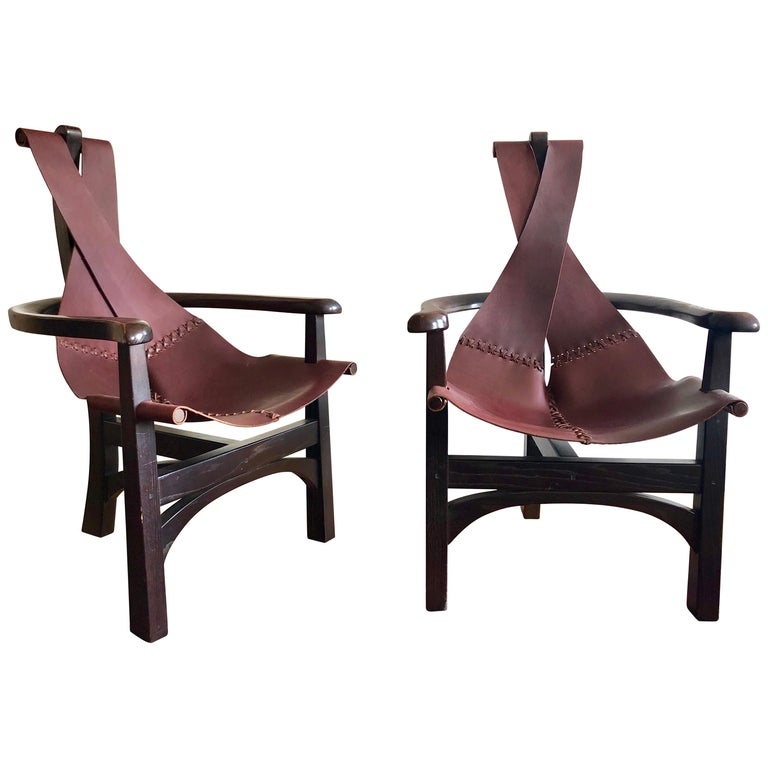 Pair of California Studio Leather Sling Chairs For Sale