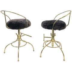 Pair of Brass and Sheepskin Swivel Barstools by Charles Hollis Jones