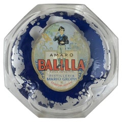1930s Vintage Italian Advertising Amaro Balilla Glass Ashtray Made in Italy