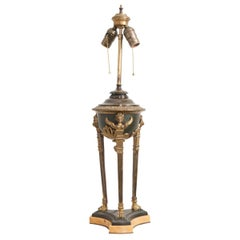 French Early 20th Century Empire Brass and Bronze Table Lamp