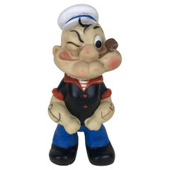 1960s Vintage Italian Popeye the Sailor Rubber Squeak Toy Made by Italo Cremona
