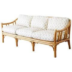 McGuire Organic Modern Bamboo Rattan Three-Seat Sofa