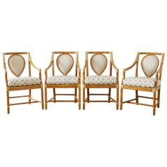 Set of Four McGuire Bamboo Rattan Linen Dining Armchairs
