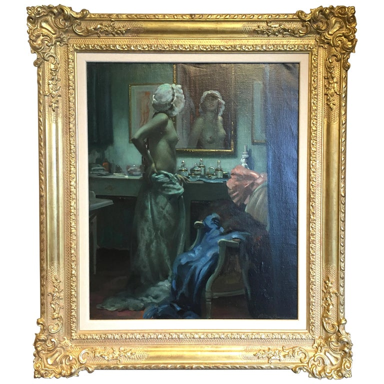 Portrait of Semi-Nude Lady in her Boudoir, by Arnulf De Bouche, circa 1900 For Sale