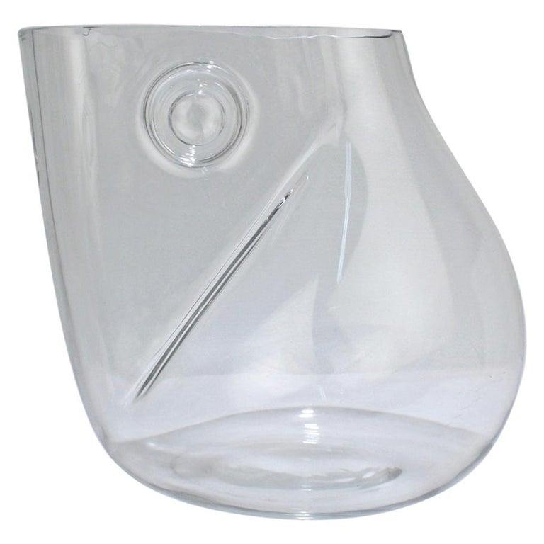 Huge Signed Barbini Asymmetrical Modernist Murano Glass Vase For Sale