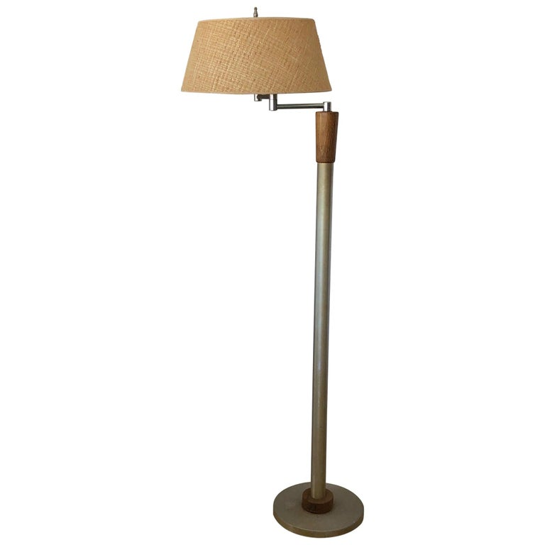 Modernist Articulated Floor Lamp with Original Shade For Sale