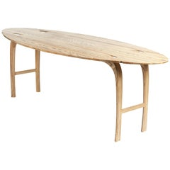 Oval Drop-Leaf Table in solid ebony grain and white oil ash by Jonathan Field