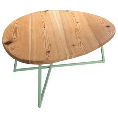 Noguchoff Coffee Table, Mint Powder Coated Steel, Reclaimed Heart Pine