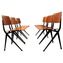 Set of Six Industrial Compass Dining Chairs with Plywood