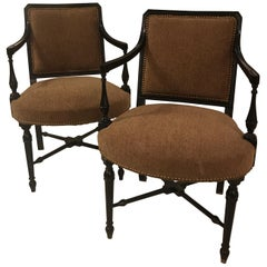 Pair of Antique Ebonized Upholstered Accent Armchairs
