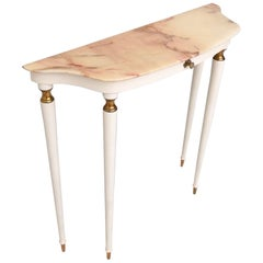 White Lacquered Wood Console with a Portuguese Pink Marble Top, Italy, 1950s